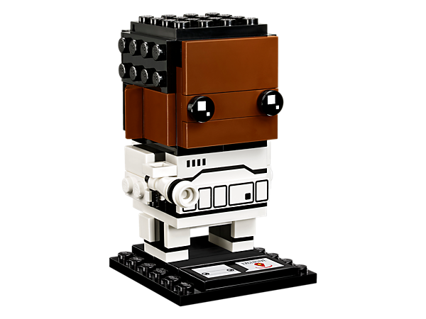 Build Finn, as seen in the Star Wars: The Force Awakens movie, with this fun LEGO® BrickHeadz construction character with Stormtrooper armor and blaster, plus a baseplate.