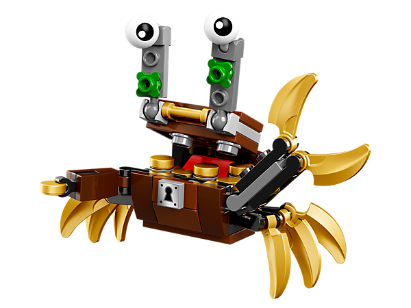 <p>Get a mouthful of treasure with Lewt, featuring an opening treasure chest design with crab-like legs and pincers, 1 of 3 Pyrratz featured in LEGO® MIXELS™ Series 8.</p>