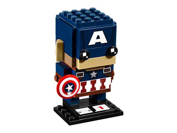 Build Captain America in this new-for-March-2017 LEGO® BrickHeadz construction character with iconic outfit and headgear, detachable shield and a display baseplate.