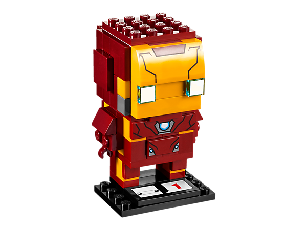 Build Iron Man in the new-for-March-2017 LEGO® BrickHeadz construction character, featuring his iconic red and yellow suit of armor and a display baseplate.