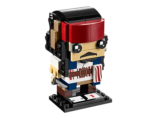 <p>Build Captain Jack Sparrow, as seen in Disney Pirates of the Caribbean: Dead Men Tell No Tales, with this LEGO® BrickHeadz set featuring a belt, headband, cutlass and a baseplate.</p>