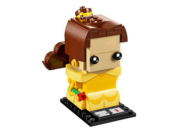 Build Belle with this new-for-March-2017 LEGO® BrickHeadz construction character and recreate a classic Disney fairytale with her dress, buildable ponytail and earrings, rose and a display baseplate.