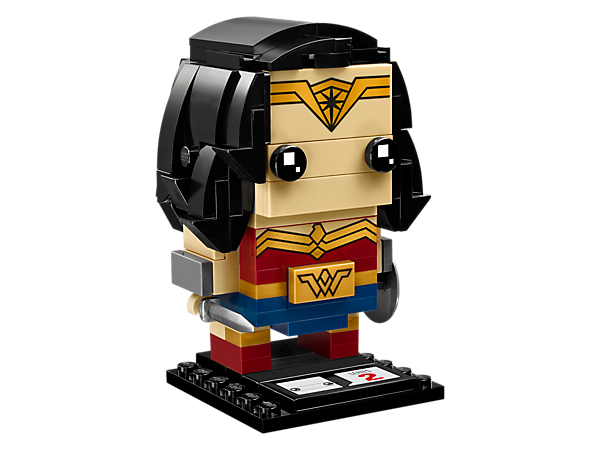 Build Wonder Woman™, as seen in the blockbuster Justice League movie, with this fun LEGO® BrickHeadz construction character, featuring iconic headdress, sword and shield, plus a display baseplate.