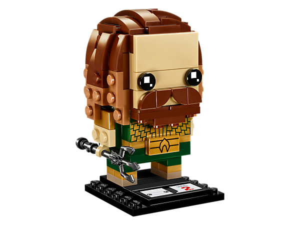 Build Aquaman™, as seen in the blockbuster Justice League movie, with this fun LEGO® BrickHeadz construction character featuring scale-like armor and detachable trident, plus a display baseplate.