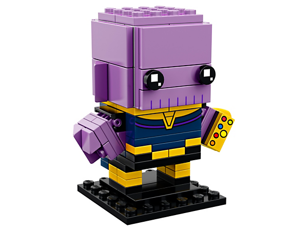 Build Thanos from the blockbuster Avengers: Infinity War movie, with this fun LEGO® BrickHeadz construction character with purple skin, chest armor, Infinity Gauntlet and display baseplate.
