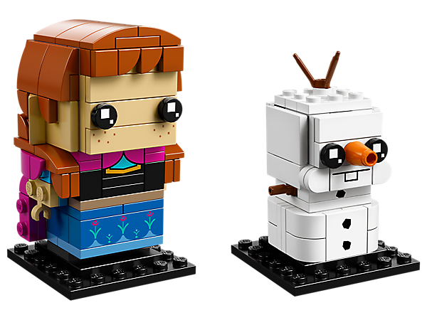 Build Anna and Olaf, as seen in the Disney blockbuster Frozen movie, with this fun double pack featuring 2 LEGO® BrickHeadz™ construction characters on collector's baseplates.