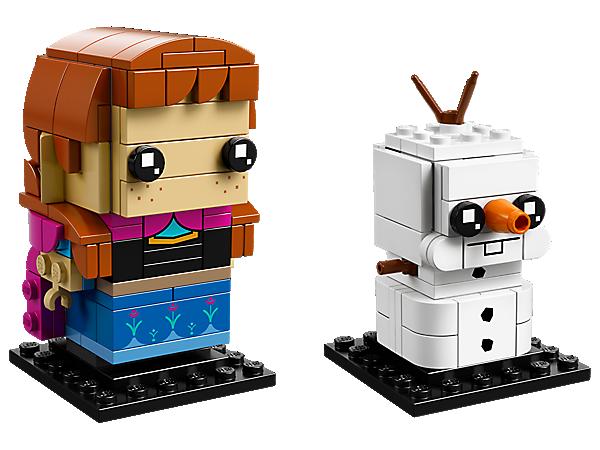 """Baue Anna und Olaf aus dem Disney-Kinoerfolg """"Die Eiskönigin – Völlig unverfroren"""". Dieses witzige Doppelpack enthält 2 LEGO® BrickHeadz™ Baufiguren auf Sammlerstellplatten."""