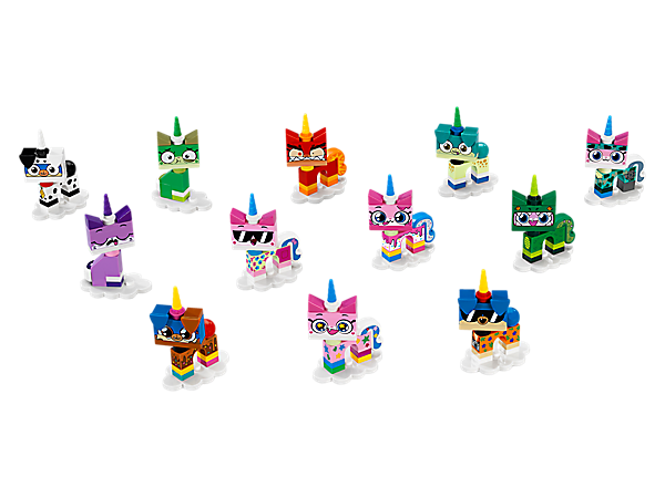 Spread a little happiness with LEGO® Unikitty™! Collectibles Series 1: 12 Limited Edition buildable figures featuring either Unikitty™ or Prince Puppycorn™, each with a different look and wrapped up in a mystery bag!