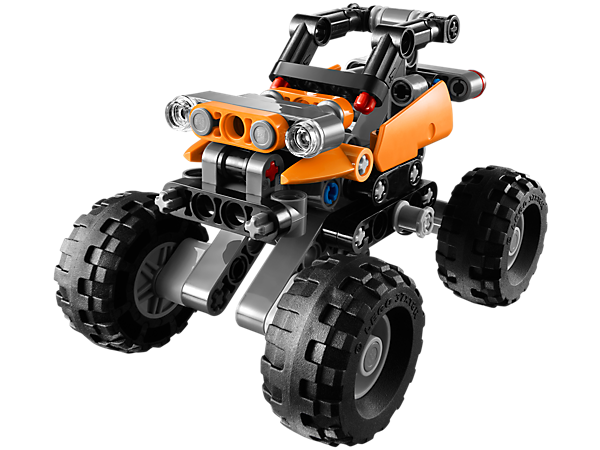 Create the LEGO® Technic Mini Offroader with extreme, independent 4-wheel suspension, big knobby tires and opening doors!