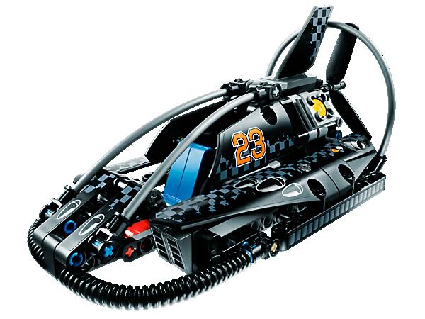 Fais la course sur toutes les surfaces avec l'aéroglisseur LEGO® Technic, avec un design de course très cool, des pales de rotor qui tournent et des pistons de moteur mobiles !