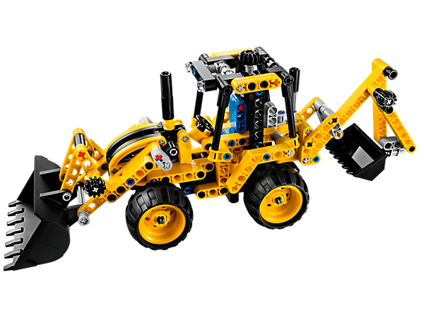 Create the LEGO® Technic Mini Backhoe Loader loaded with a movable front arm, backhoe, bucket, and articulated steering!
