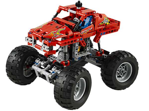 Build the LEGO® Technic Monster Truck with extreme 4-wheel suspension, all-wheel drive, flame detailing and monster-size rubber wheels!