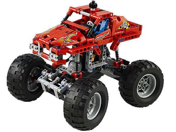 Baue den LEGO® Technic Monster-Truck mit Allradaufhängung und -lenkung, Flammenverzierungen und Monster-Gummireifen!
