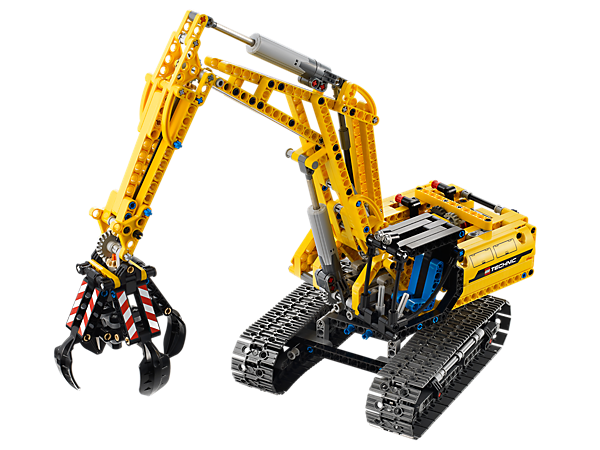 Build the LEGO® Technic Excavator with functioning 4-prong grabber, articulated extending arm, rotating superstructure and moving tracks!