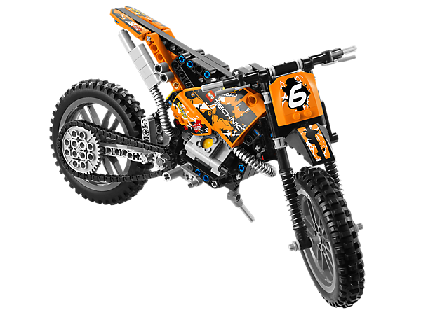 Take the Moto Cross Bike on an off-road adventure with a chain-drive, working pistons, front and rear suspension and knobby tires!