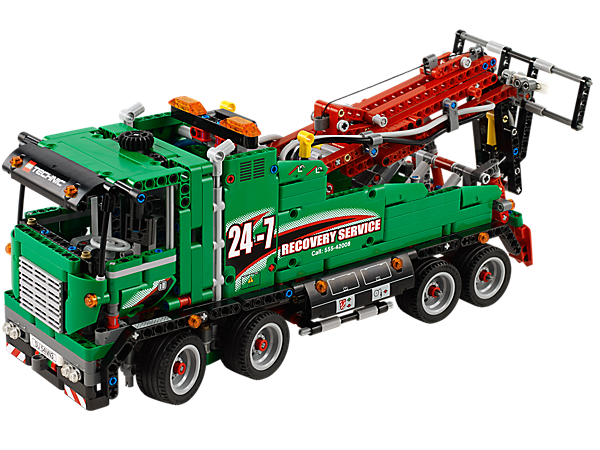 Build the 2-in-1 LEGO® Technic Service Truck with crane arm, outriggers, wheel lift and winch powered by LEGO® Power Functions motors!