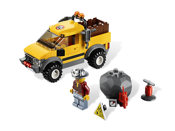 Ride through the rocky mine on the Mining 4x4 to find the rock with gold inside, then use the dynamite and miner minifigure to blast it!