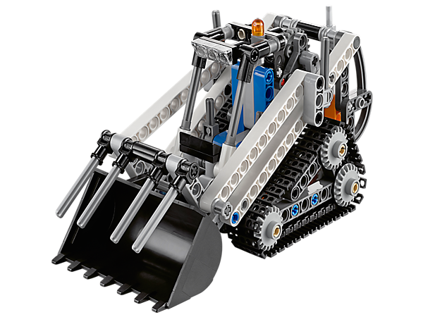 The sturdy LEGO® Technic Compact Track Loader has a versatile boom mechanism with huge bucket and grabber, and large rugged crawler tracks.