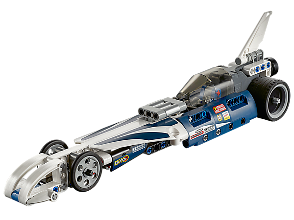The cool LEGO® Technic Record Breaker features a sleek, aerodynamic design, tinted canopy, and a powerful, high-speed pull-back motor.