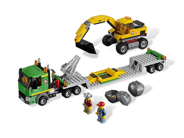 Dig into any mine when the Transport Truck arrives carrying the Excavator with drill and bucket attachments – perfect for mining gold!