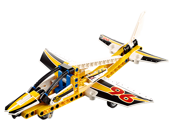 Loop the loop with the 2-in-1 Display Team Jet, featuring an aerodynamic design with large cockpit, retractable undercarriage and a yellow, black and white color scheme.