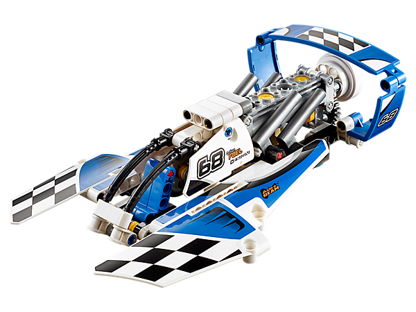 Power up the 2-in-1 Hydroplane Racer, featuring a large cockpit, detailed engine with moving pistons, spinning propeller and a cool blue and white color scheme.