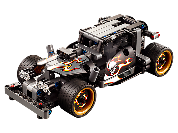 Make a quick getaway with the cool Getaway Racer, featuring a high-speed pull-back motor, vertical exhaust pipes, extra-wide tires and a heavy-duty front bumper.