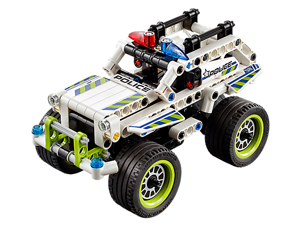 Pursue getaway vehicles with the Police Interceptor, featuring a high-speed pull-back motor, huge tires, red and blue police warning beacons and a heavy-duty bull bar.