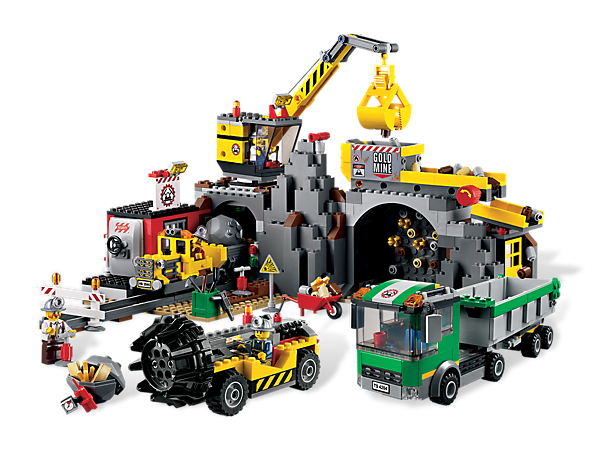 Build a gold-filled mine with a drill to break rocks, a crane or truck to excavate with and a conveyor belt to move the gold onto the train!