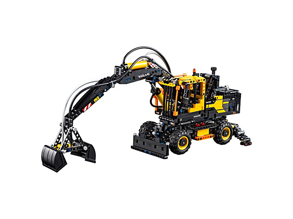Experience the powerful Volvo EW160E with this detailed LEGO® Technic model, featuring an advanced pneumatic system, rotating superstructure and height-adjustable cab.