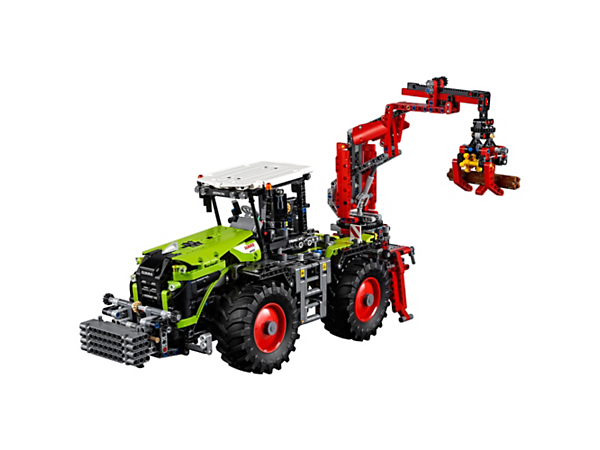 Power up the 2-in-1 LEGO® Technic CLAAS XERION 5000 TRAC VC, with a motorized, rotating cab and crane arm, huge tractor tires and front-wheel, 4-wheel and crab steering.