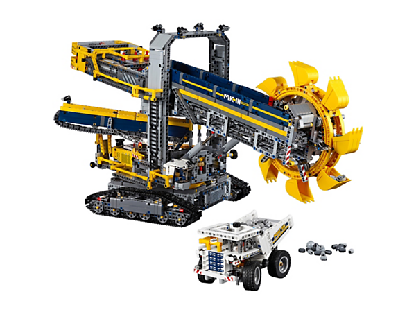 Mine on a massive scale with the colossal Bucket Wheel Excavator, including motorised tracks, conveyor belts, bucket wheel and superstructure, plus a rugged mine truck.