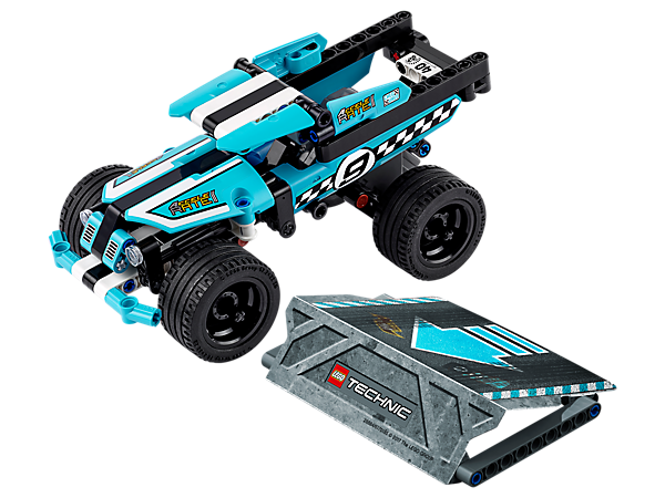Pull awesome stunts with the amazing LEGO® Technic Stunt Truck, featuring a high-speed pull-back motor, wide blue rims, blue, black and white color scheme and a buildable stunt ramp.
