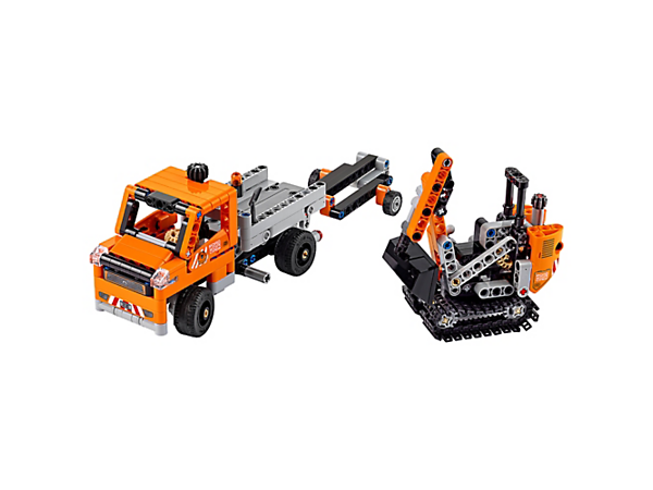 Make way for the 2-in-1 LEGO® Technic Roadwork Crew, featuring a truck with working steering and tipping flatbed, removable trailer, plus a tracked digger with working boom and bucket.