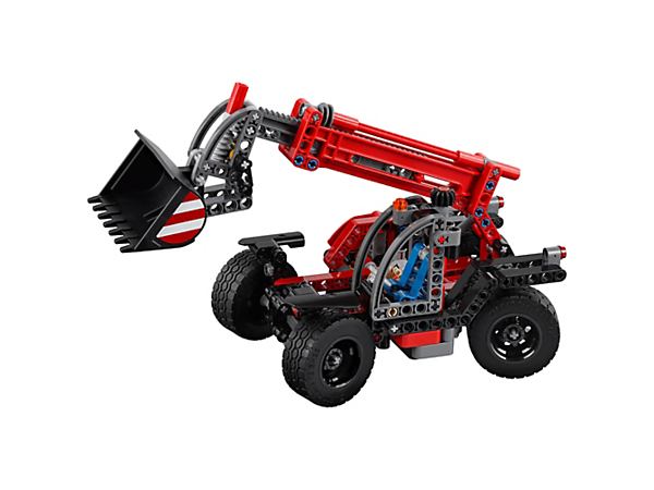 Lift heavy loads high into the air with this versatile 2-in-1 LEGO® Technic Telehandler, including an extendable boom, tipping bucket, four-wheel steering and heavy-duty tires.