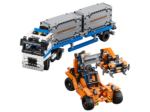 Shift heavy freight with the LEGO® Technic Container Yard, featuring an articulated truck, detachable trailer, two containers and a rugged loader with extendable boom and working grabber.