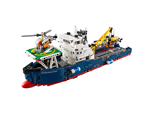 Udforsk det utrolige sæt LEGO® Technic Forskningsskib med stort skib med kommandobro, fungerende kranarm og landingsplads samt ubåd og helikopter, der kan bygges.