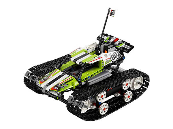 Race, spin, turn and accelerate at amazing speed with this rugged, fully motorized, remote-controlled LEGO® Technic RC Tracked Racer model with huge tracks for ultimate maneuverability.