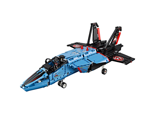 Prepare for vertical takeoff with the 2-in-1 LEGO® Air Race Jet, featuring motorized undercarriage, nozzle and flaps, plus front steering, opening cockpit and a cool color scheme.
