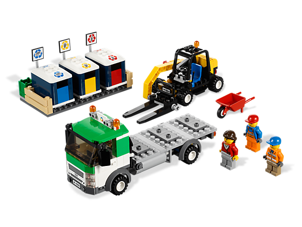 Clean up LEGO® City with the Recycling Truck's raising forks, operators, detachable bins and squeaky-clean accessories!