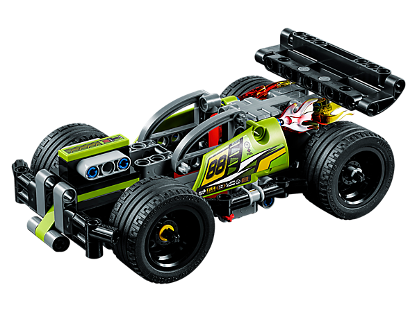 Enjoy high-speed action with the 2-in-1 LEGO® Technic WHACK!, featuring a powerful pull-back motor, sturdy front bumper, large rear spoiler, wide black rims and crash impact function.