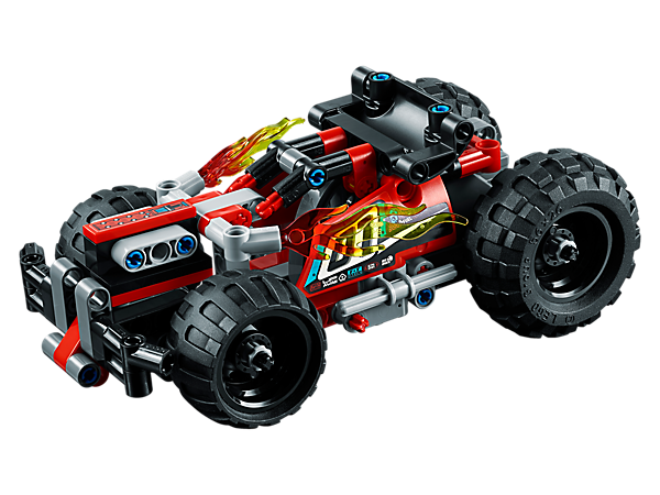 Enjoy high-speed action with the 2-in-1 LEGO® Technic BASH!, featuring a powerful pull-back motor, sturdy front bumper, large rear spoiler, wide black rims and crash impact function.