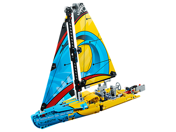 Celebrate maritime ingenuity with this cool Racing Yacht, featuring a sporty color scheme, sails with lines and winches, detailed hull and a working rudder with wheel and tiller steering.
