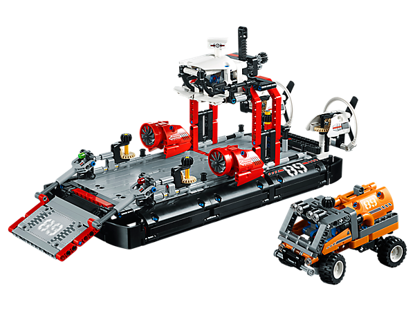 Discover new horizons with this 2-in-1 LEGO® Technic set, featuring a hovercraft with working crane and steering, raisable loading platform and spinning fans, plus a rugged expedition truck.