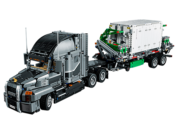 Experience the Mack Anthem truck and trailer first hand with this LEGO® Technic replica, featuring an array of authentic details and functions. Rebuilds into a replica of the iconic Mack LR garbage truck.