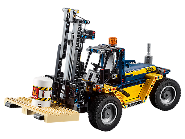 Lift and transport cargo with this LEGO® Technic™ Heavy Duty Forklift, featuring high-reach forks, large tires and rear-wheel steering, plus a cargo pallet and a barrel.