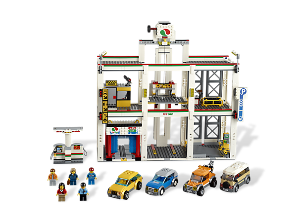 Build more fun for your LEGO® vehicles with the City Garage featuring fuel pumps, a carwash, tow truck and mechanic's workshop!