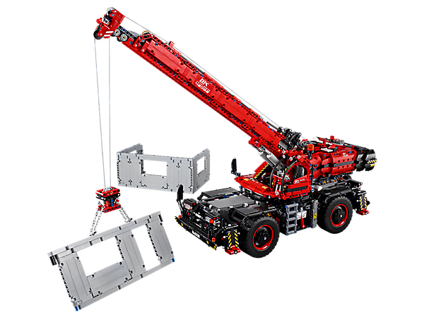 Power up the mighty LEGO® Technic™ Rough Terrain Crane, complete with motorized superstructure, stabilizer legs, winch and boom, plus an array of authentic details and manual functions.