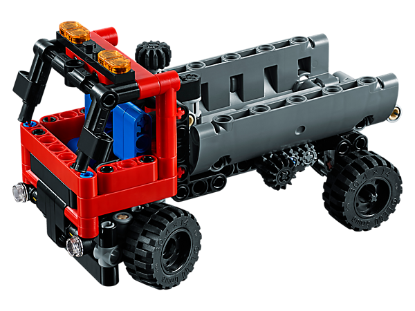 Experience the 2-in-1 LEGO® Technic Hook Loader with working steering and hook loading functionality, driver's cab, warning light, heavy-duty tires and a cargo container.