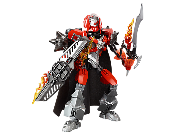 Battle the evil brains with FURNO's fire sword, fire shield, cape, armored visor, spiked shoulder armor and hero core locking clamps!